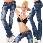 SeXy Damen MiSS Retro Risse Spitze Hüft Hose LoW CuT Jeans Gürtel 32 34 36 38 40