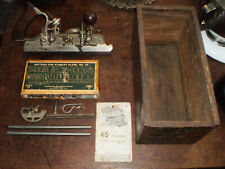 New ListingAntique Stanley No. 45 Sweetheart Combination Plow Plane w/blades Org Wood Box