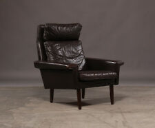 VINTAGE DANISH RICH BROWN GEORG THAMS STYLE LEATHER LOUNGE CHAIR 1960's