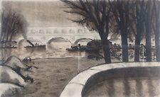 Robert-Louis ANTRAL 1895-1939. La porte d'Auteuil.Lithographie 18x29.SBD.Cadre.