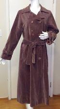I. Magnin, Mauve, Velvet, Double-breasted, Full-Length, Trench Coat (Size Small)