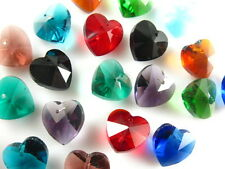 15pcs Mixed Color Glass Crystal Heart Shape Spacer Beads Jewelry Findings 14mm