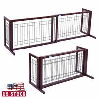 """Pet Fence Gate Free Standing Adjustable Dog Gate Indoor Wooden&Metal 21.1"""" H"""