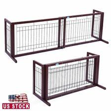 Pet Fence Gate Free Standing Adjustable Dog Gate Indoor Wooden&Metal 21.1