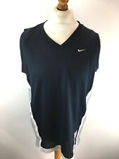 NIKE Mens Basketball Vest Top M Medium Blue Silver Polyester