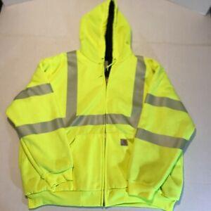 Carhartt High Visibility Fluorescent Refective Hoodie Jacket Sz 2XL Heavyweight