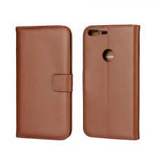 for Google Pixel XL Brown Genuine Leather Business Wallet Flip Case Cover Stand