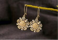 WHE911 White Chapel Bridal Sparkling Crystal Gold Rhinestone Snowflake Earrings