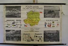 Schulwandkarte hermosas viejas bohemia moravia CSR kucera Polonia 99x67 vintage Map ~ 1955