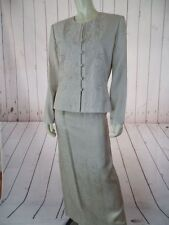 Adrianna Papell Skirt Suit 10 Tan Silk 2pc Beads Embroidery Lined Maxi