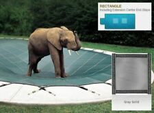 Solid Gray Cover for 16 x 32 Pool, Mesh Drain Panels, 4 x 8 Center End