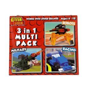Best Lock Building Blocks 3 In 1 Multi Pack Robots Military Racing 71 Pc New