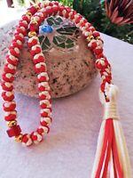 50 knots unique komboskini, Red ecru prayer rope, Chotki Religious baptism gift