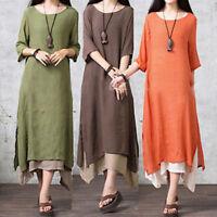 Damen Leinen 3/4 Ärmel Freizeit Kleid Umstandskleid für Schwangere S-5XL BC522