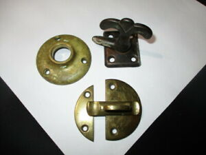 JD -GENUINE VICTORIAN SOLID BRASS HARDWARE LATCHES DOOR KNOB ESCUTCHEON PLATE