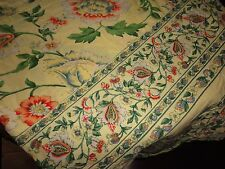 APRIL CORNELL YELLOW RED GREEN FLORAL ROUND TABLECLOTH 70""