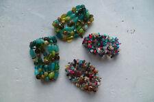 4 bracelets fantaisie en pierres multicouleurs montées sur élastique (LBMDJ)
