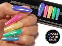 Pastel Rainbow Unicorn Chrome Coffin Press On Fake False Acrylic Glue On Nails
