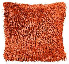 4 X Luxury Orange Shaggy Chenille Modern Deep Pile Thick Premium Cushion Covers