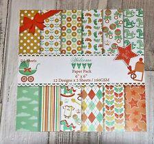 "SALE - 6""x6"" scrapbooking paper cardstock - BABY BOY- 12 designs x 2 sheets"