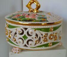 Vintage Capidimonte Cherubs Lattice Footed Dish Trinket Jewelry Box Italy