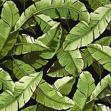Green Black Banana Leaf Fabric, Richloom Balmoral Noir Outdoor Fabric - by yard