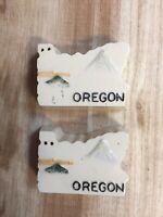 Vintage State of Oregon Salt and Pepper Shakers Map Ceramic Souvenir Made Japan