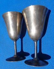 "Goblets Flute Wine Champange WM Mounts EPNS 6 1/2"" Tall Set of 2 Silverplate"
