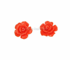 12mm carved rugosa rose flower simulated turquoise coral Earrings 925sc j12385