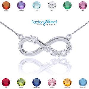14K White Gold Infinity #1MOM CZ Birthstone Necklace