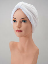 Chemo Cap TURBAN WHITE Terry COTTON LOUNGING Cancer HEAD COVER  Free Shipping!
