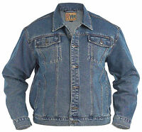 New Mens Quality Kingsize Big Denim Trucker Jean Jacket Stonewash Blue