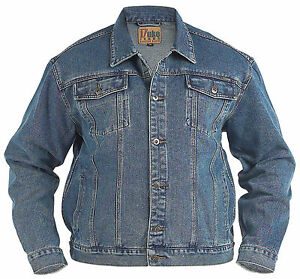 New Mens Quality Kingsize Big Denim Trucker Jean Jacket Stonewash Blue