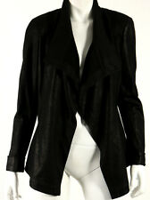 DONNA KARAN Black Glazed Stretch Knit Draped Front Blazer Jacket 10