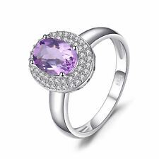 JewelryPalace Classic 1.6ct Genuine Amethyst Halo Anniversary Ring 925 Silver