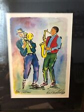 New Orleans Jazz Players Original Watercolor Painting Signed 99