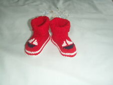 NEW Made in Uk 0-3 months Baby Shoes Crochet red & white yacht motif cuffed