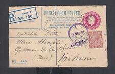 UK 1922/3 THREE REGISTERED PS COVERS CAMBRIDGE LIVERPOOL & RADLETT TO ITALY
