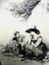 GUILLAUMET Gustave(1840-1887)LA MOISSON DE BLE -DESSIN DU 19è - CRAYON NOIR (B)