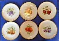 Hutschenreuther - 6 Fruit Dessert Plates With Gold Rims - Selb Bavaria Germany