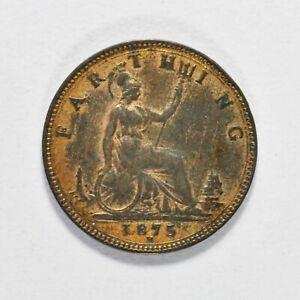 GB VICTORIA 'BUN HEAD' FARTHING 1875H ++ HIGH GRADE - LUSTRE!! ++ [039-04]