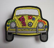 Hippie Auto - Peace Love - Patch - besticktes Bügelbild - 9,5cm x 8cm - Käfer