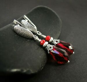 Dainty sterling silver cluster earrings with free dangle burgundy teardrop