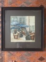 Antique Watercolour Street Scene Figures By Umbrellas Mounted And Framed