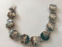 """Antique Signed SIAM Sterling Silver 925 Enamel Dancer Charm Bracelet 12 g 7"""""""