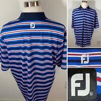 Footjoy FJ Red White Blue Black Striped Golf Polo Shirt Men's Sz XL - NO LOGO