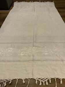Solid Cream Oversized Sand Beach Blanket Towel W/ Tassels & Embroidery