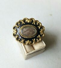 Victorian Mourning Hair Brooch with Enamel Memorial Antique 1800s