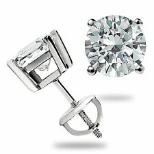 3.0 CT ROUND BRILLIANT CUT BASKET SCREW BACK EARRINGS SOLID 14K WHITE GOLD GIFT