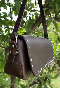 NWT Brown Leather Baguette Purse Shoulder Handbag & Silver Stud Edge, So Pretty!